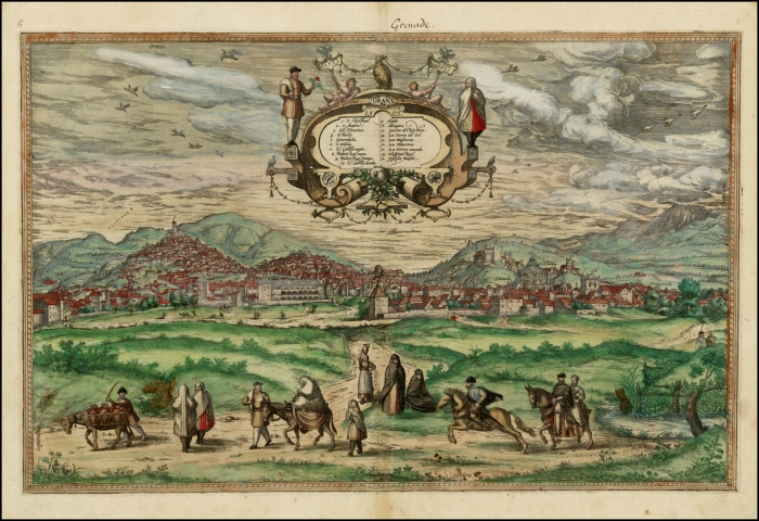 Гранада и Альгамбра на плане XVI века