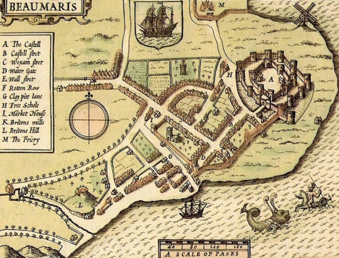 План города и замка Бомарис 1610 года