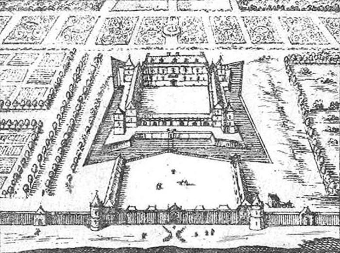 Вид Версальского дворца после первого расширения в 1632 году