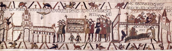 Изображения аббатства на гобелене из Байё