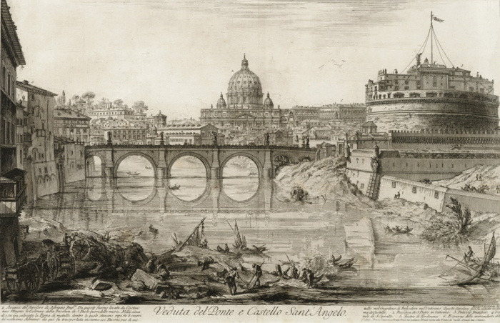 Вид Замка Святого Ангела и моста в 1748 году