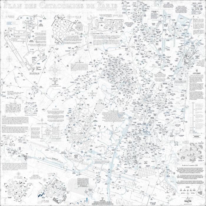 Детальная карта катакомб, туристическая часть выделена синим около центра